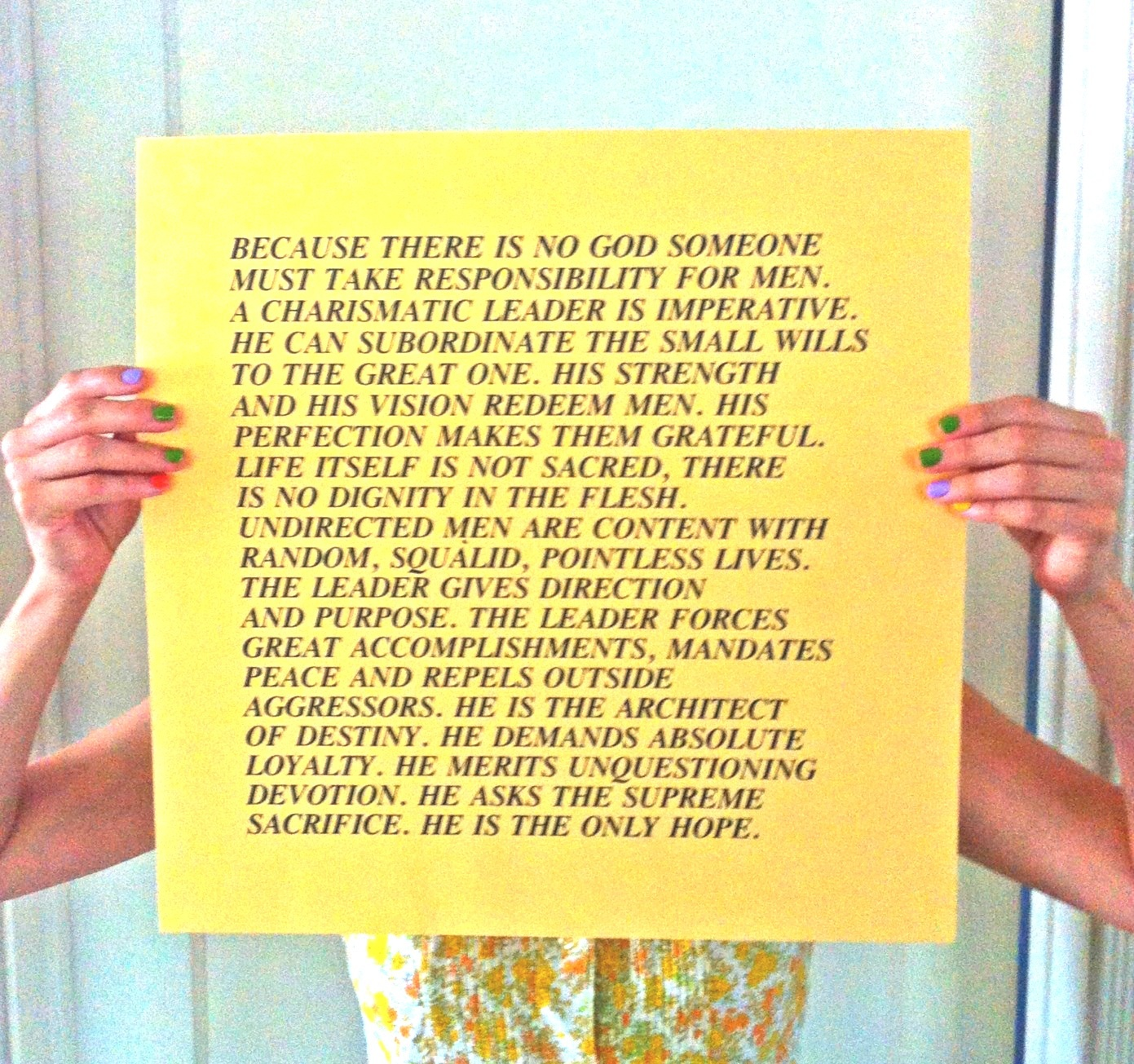 jenny sophie the text became art inside turned out the kelli anne noftle holding one of jenny holzer s inflammatory essays